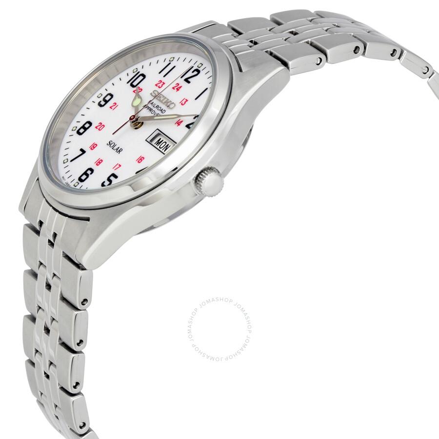 Seiko solar white dial men 39 s watch sne045 solar seiko watches jomashop for Seiko solar