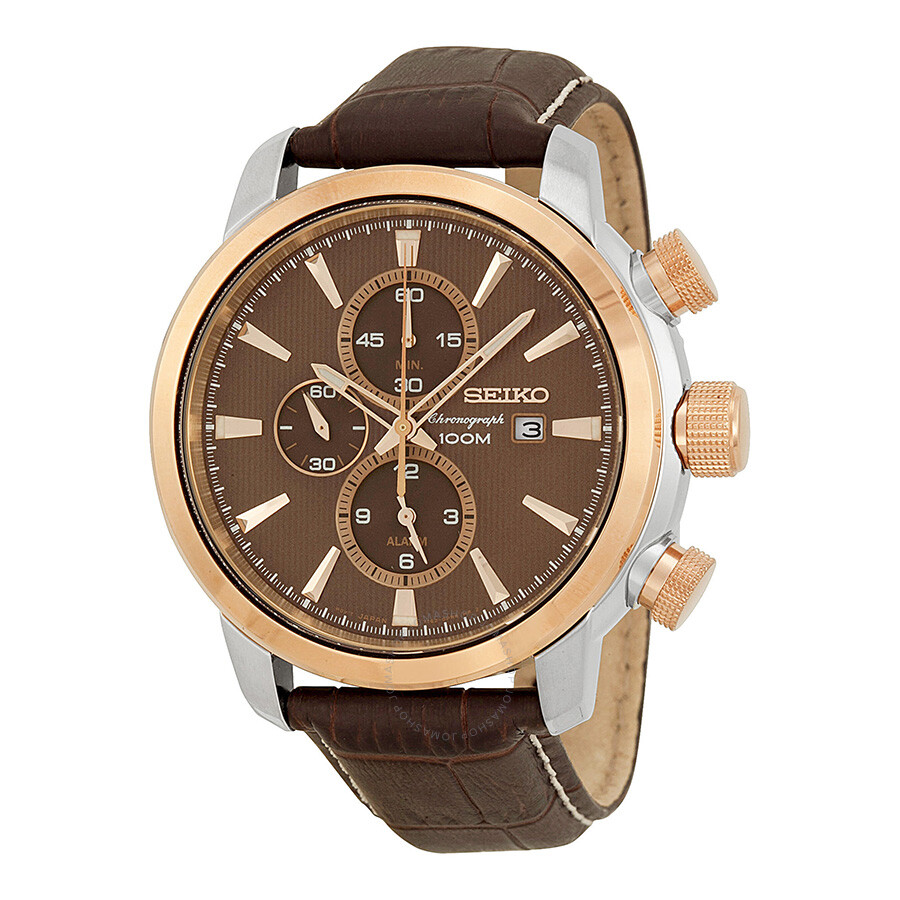 seiko sport chronograph brown brown leather s