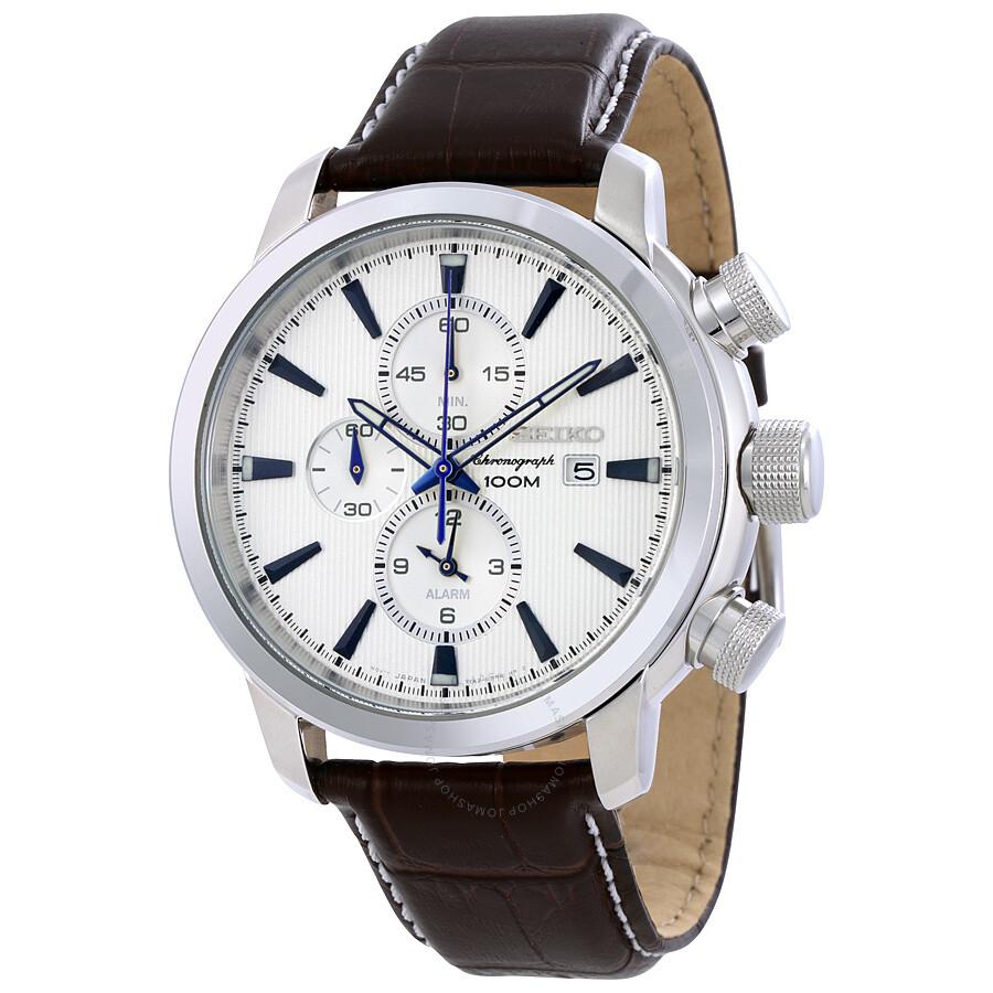 seiko sport chronograph silver black leather s