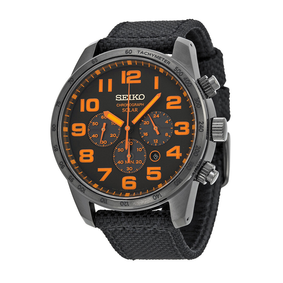 seiko sport solar black and orange chronograph s