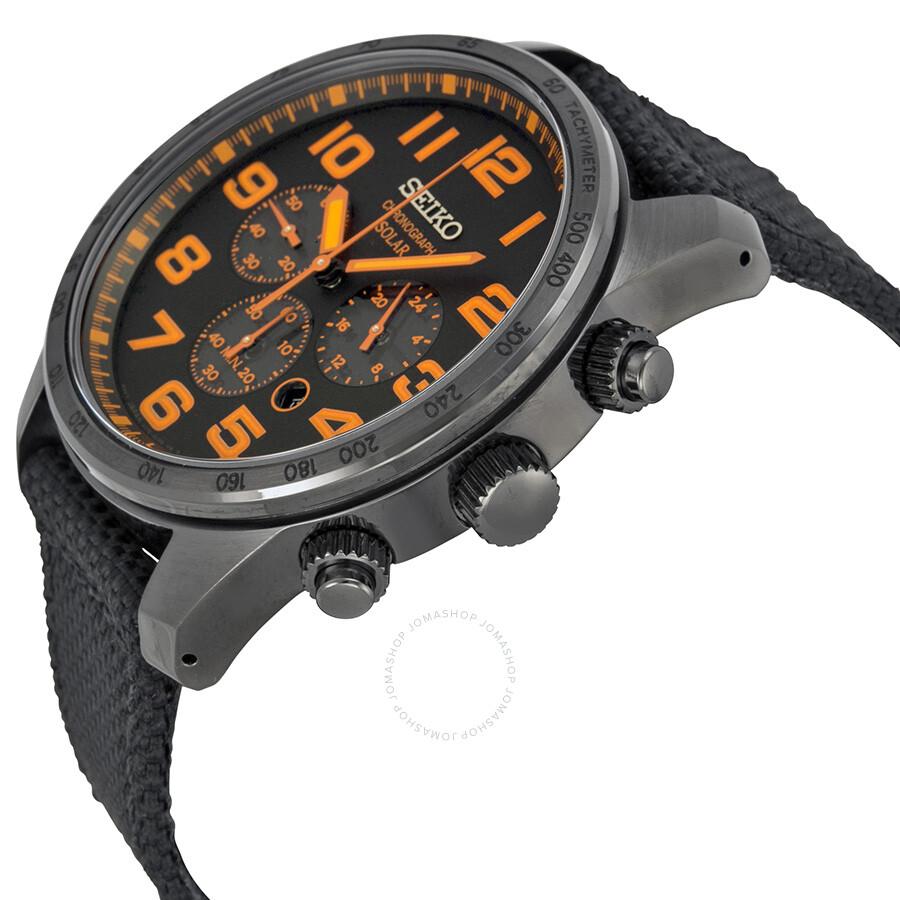 Seiko Sport Solar Chronograph Black And Orange Dial Men S Watch