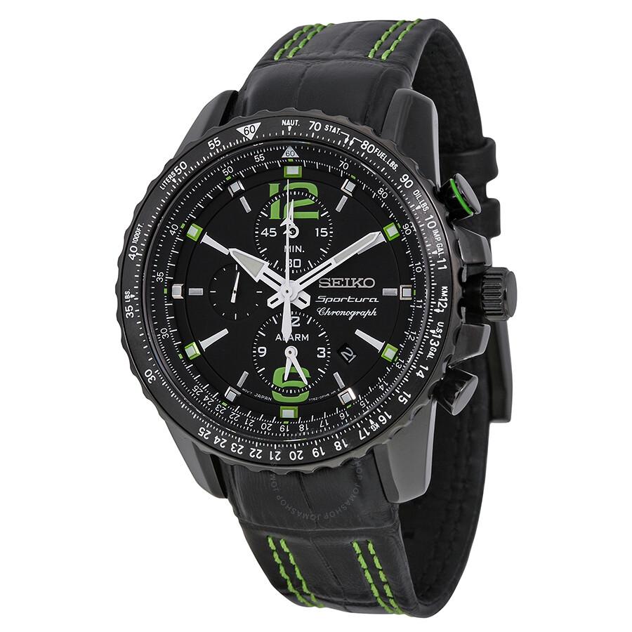 Seiko Sportura Chronograph Black Dial Black Men's Watch ...