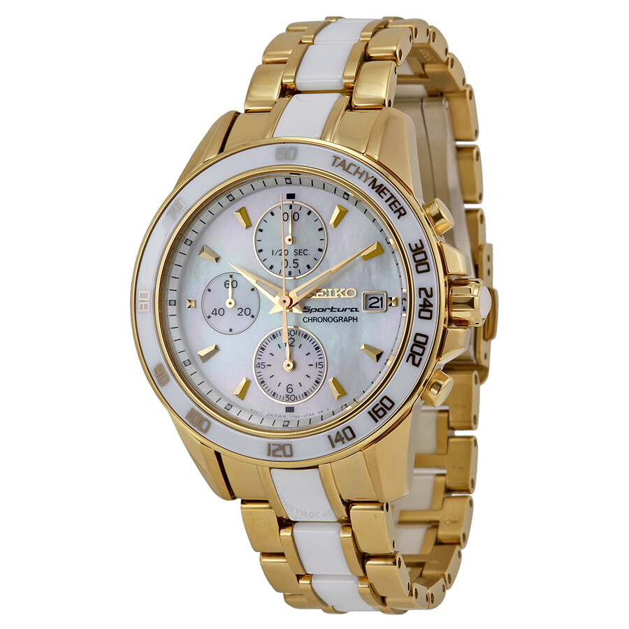 Seiko Sportura Chronograph Mother of Pearl Dial Gold-tone ...