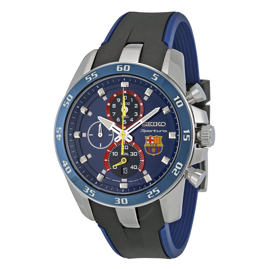 Seiko Sportura FC Barcelona Chronograph Blue Dial Blue Silicone Men s Watch  SPC089P2 ... 6ca0b3287e