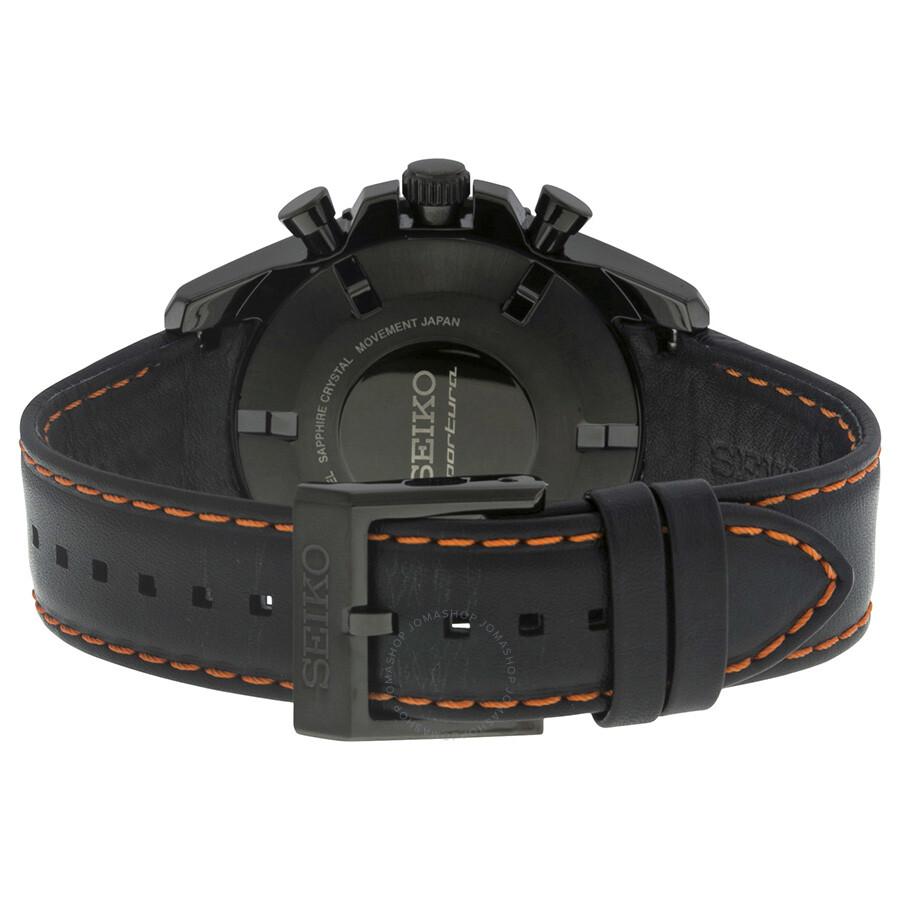 Seiko sportura solar chronograph black dial black leather strap men 39 s watch ssc273 solar for Black leather strap men