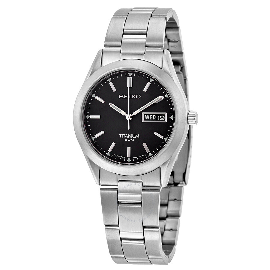 Seiko titanium black dial titanium men 39 s watch sgg599p1 titanium seiko watches jomashop for Titanium watches