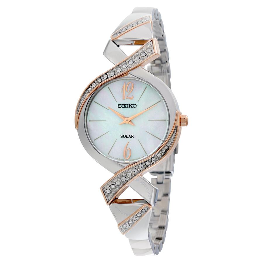 Seiko two tone stainless steel solar swarovski crystal bangle ladies watch sup264 solar for Ladies bangle watch