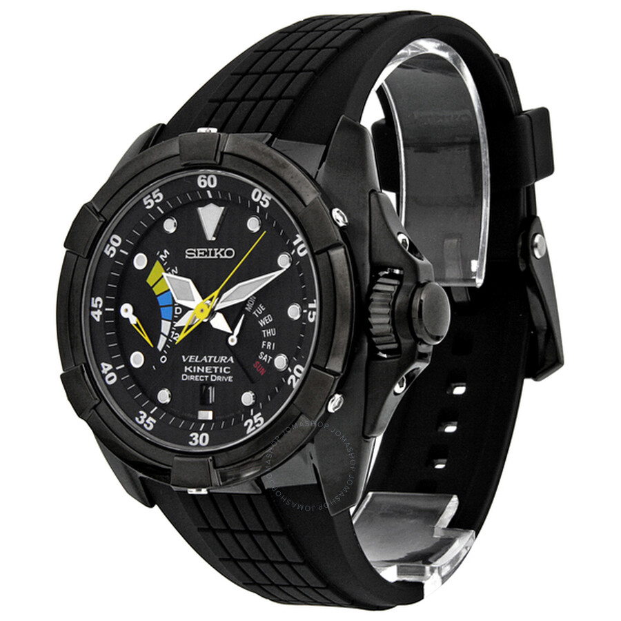Seiko velatura kinetic direct drive black dial black rubber men 39 s watch srh013 velatura for Movado kinetic