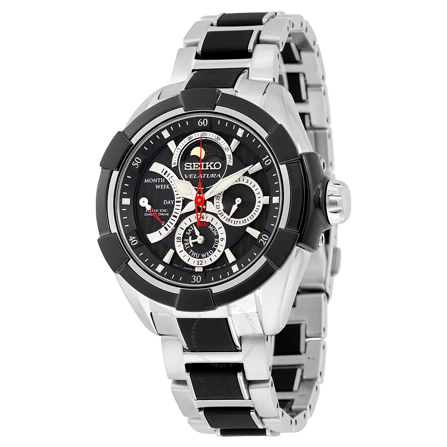 64d1e196d0ac Seiko Velatura Kinetic Multi-function Black Dial Two-tone Men s Watch  SRX009 ...