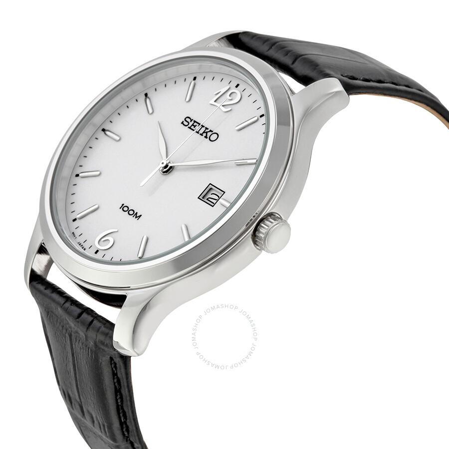 seiko white dial black leather quartz men 39 s watch sur149 seiko watches jomashop On white dial watches