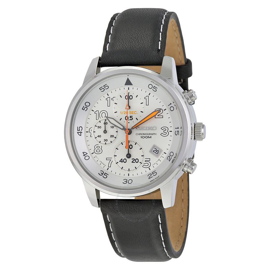 Seiko White Dial Black Leather Chronograph Men's Watch SNDE11
