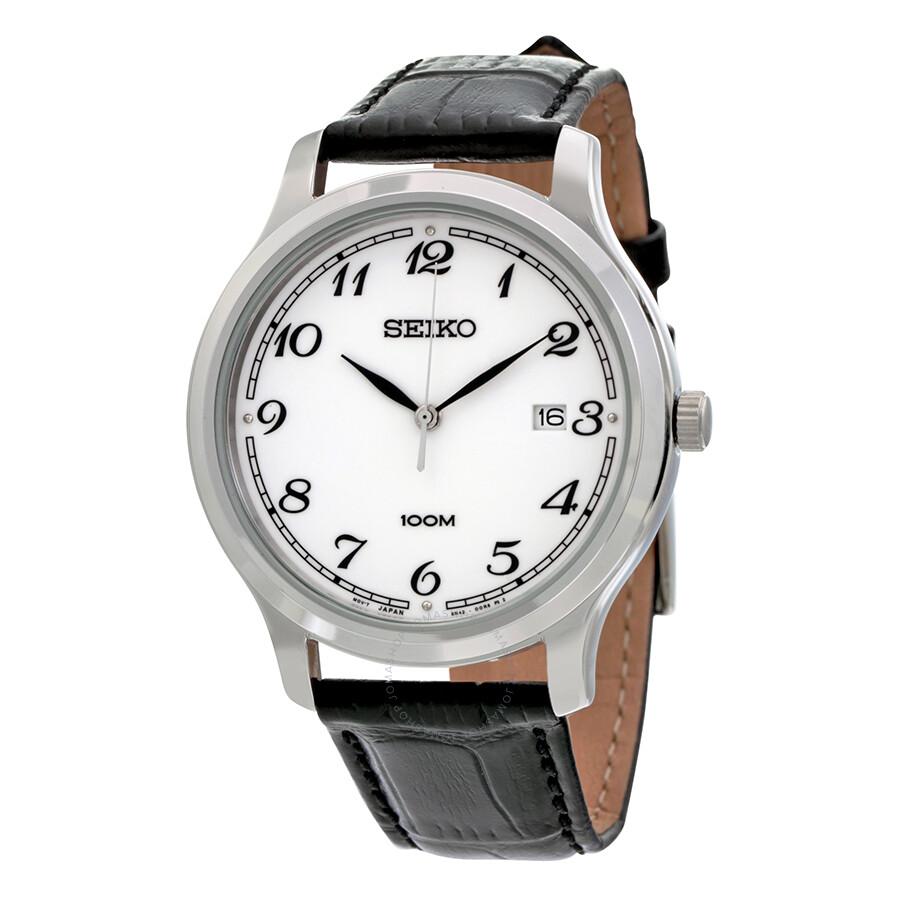 135a23c72 Seiko White Dial Brown Leather Men's Watch SUR187 - Seiko - Watches ...