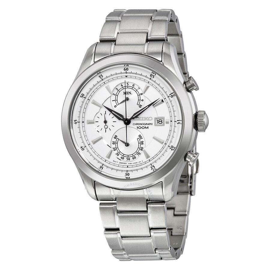 0cae4d8b1 Seiko Chronograph White Dial Stainless Steel Men's Watch SPC163 ...
