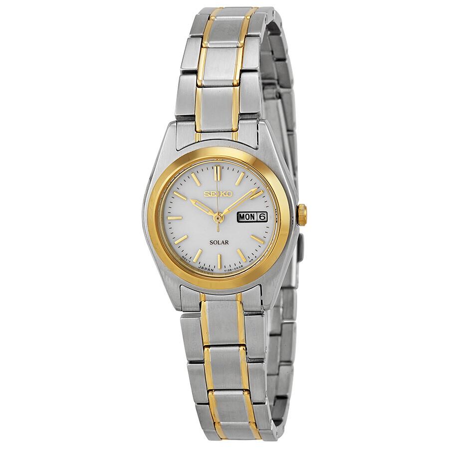 63ceb7f668b Seiko White Dial Two-tone Ladies Watch SUT108 - Solar - Seiko ...