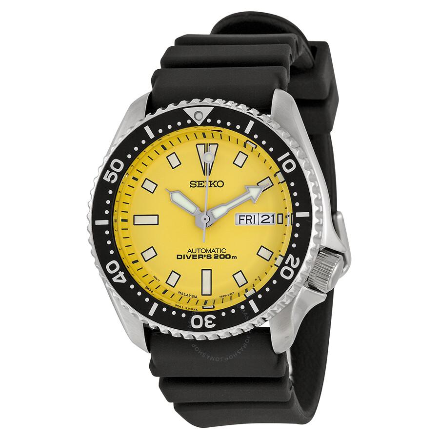 Seiko yellow dial divers men 39 s watch skxa35 diver - 40mm dive watch ...