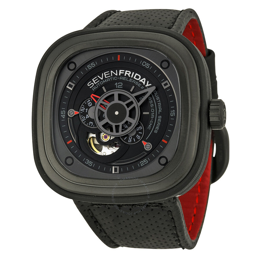 Sevenfriday industrial engines automatic black dial black rubber men 39 s watch p3 1 sevenfriday for Sevenfriday watches