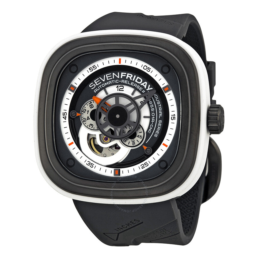 Sevenfriday industrial engines automatic grey and white dial men 39 s watch p3 3 sevenfriday for Sevenfriday watches