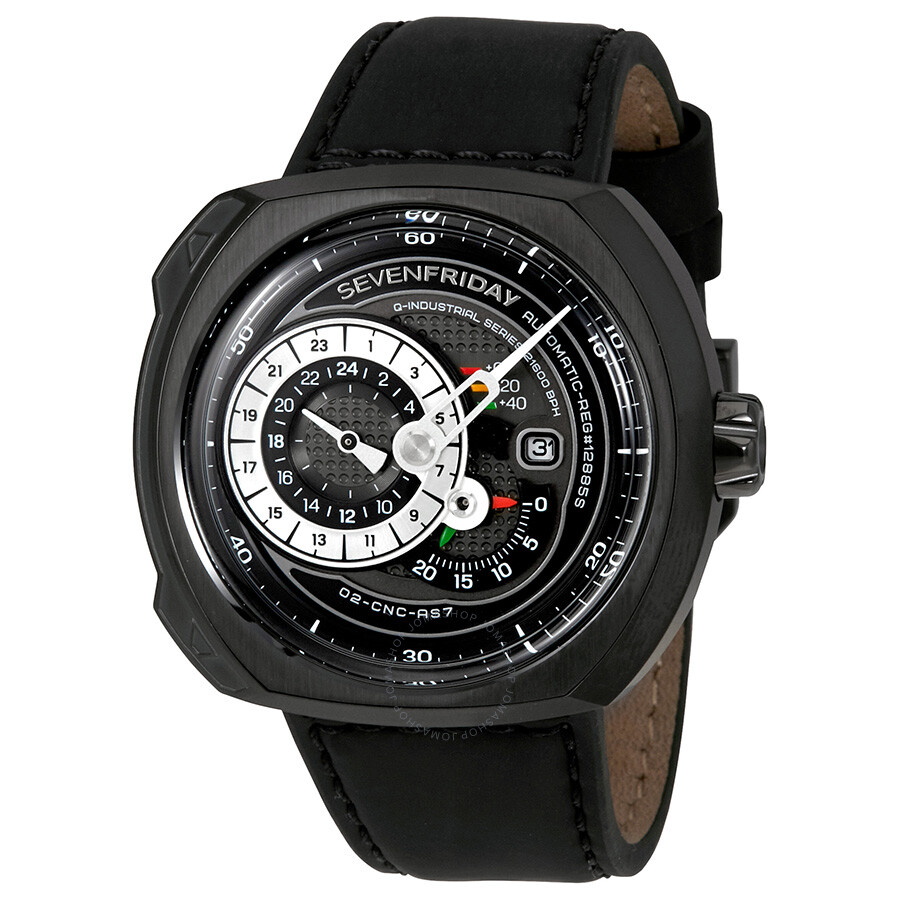 Sevenfriday q series black leather automatic men 39 s watch q3 01 sevenfriday watches jomashop for Sevenfriday watches