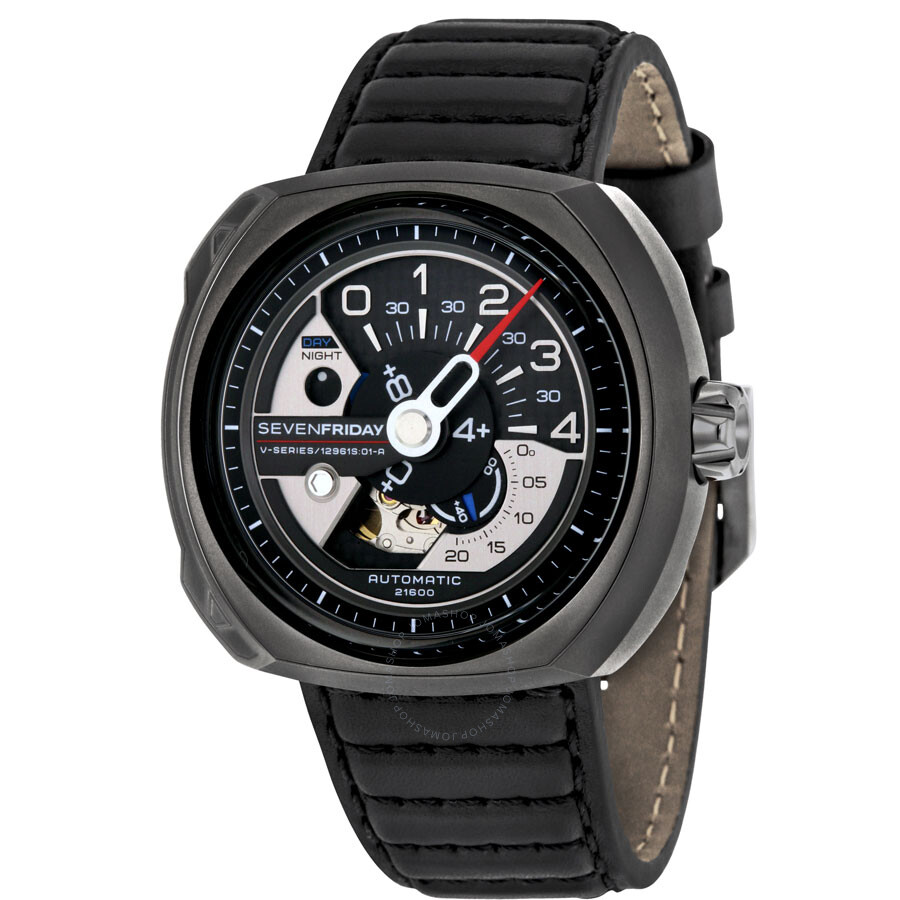 Sevenfriday v series automatic black leather men 39 s watch v3 1 sevenfriday watches jomashop for Sevenfriday watches