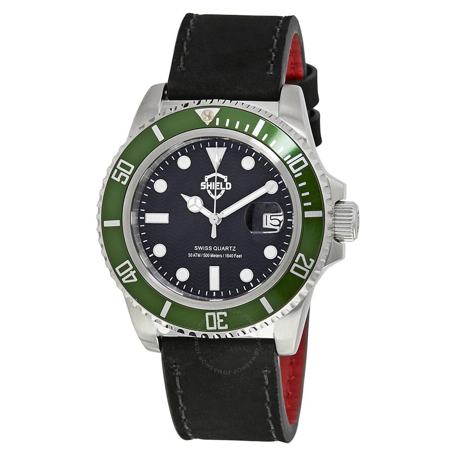 Shield cousteau black dial green bezel swiss quartz men 39 s watch sh0807 shield watches jomashop for Black bezel watches