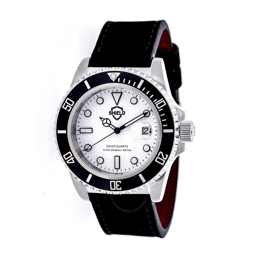 Shield cousteau white dial black bezel quartz men 39 s watch sh0801 shield watches jomashop for Black bezel watches