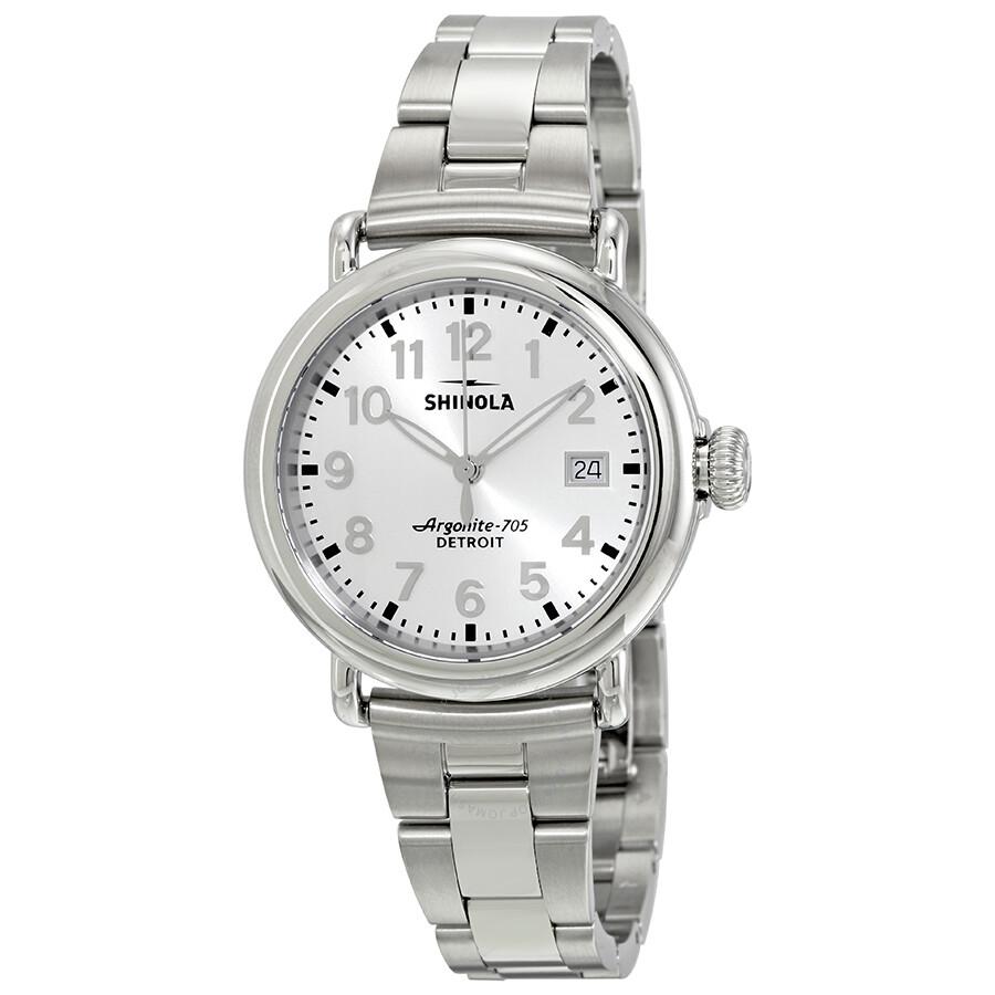 Shinola runwell silver dial stainless steel ladies watch 12001106 shinola watches jomashop for Shinola watches