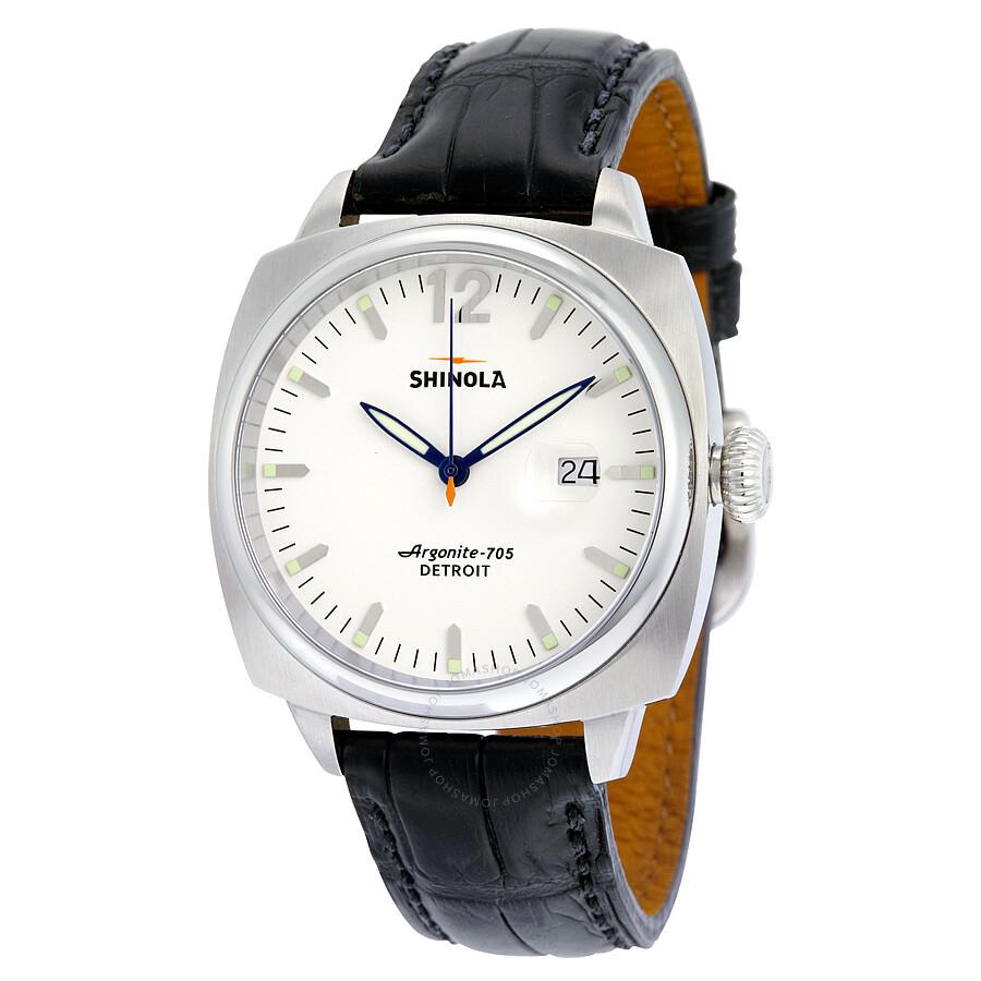Shinola the brakeman white dial leather men 39 s watch s0100008 shinola watches jomashop for Shinola watches