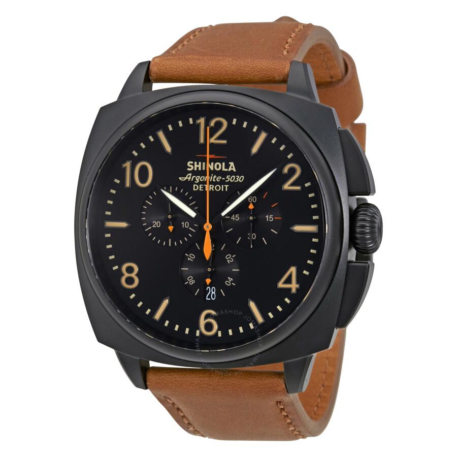 Shinola the brakeman chronoraph black dial tan leather men 39 s watch s0100123 shinola watches for Shinola watches