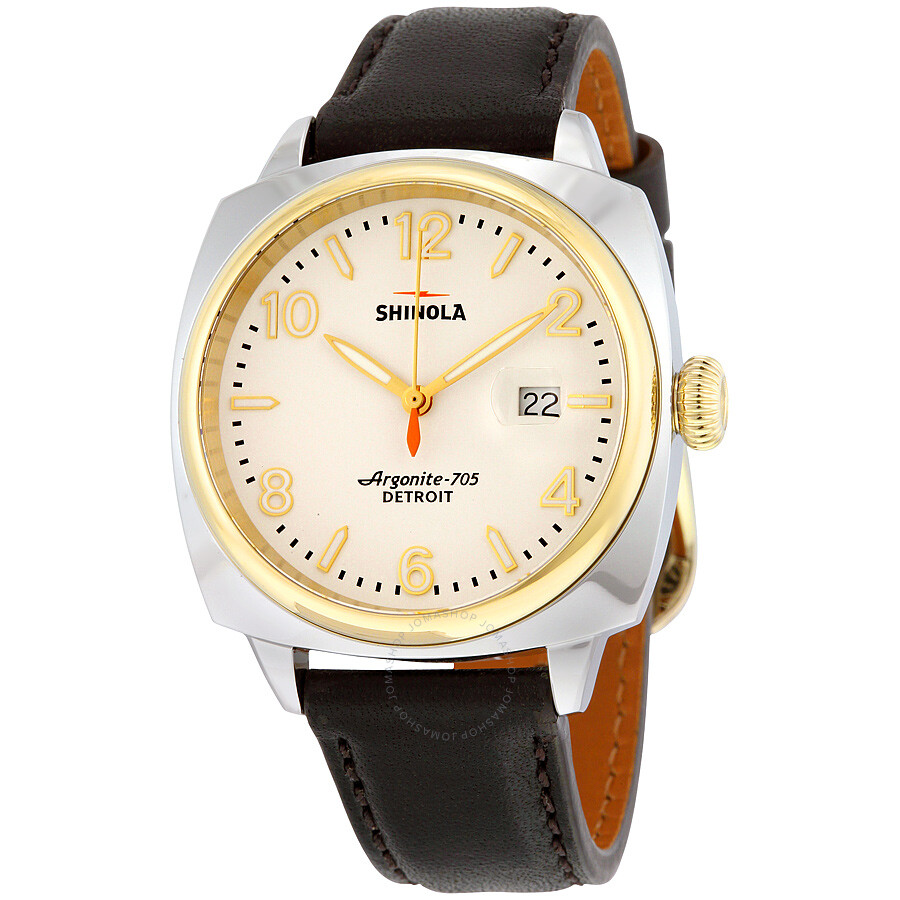 Shinola the brakeman white dial brown leather men 39 s watch s0100121 shinola watches jomashop for Shinola watches