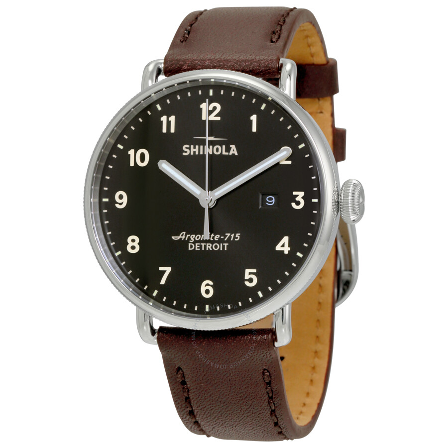 Shinola the canfield black dial leather men 39 s watch 12001939 shinola watches jomashop for Shinola watches