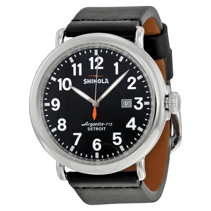 Shinola the runwell black dial black leather men 39 s watch s0100112 the runwell shinola for Shinola watches