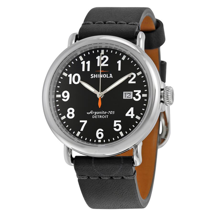 Shinola the runwell black dial black leather men 39 s watch s0100114 the runwell shinola for Shinola watches