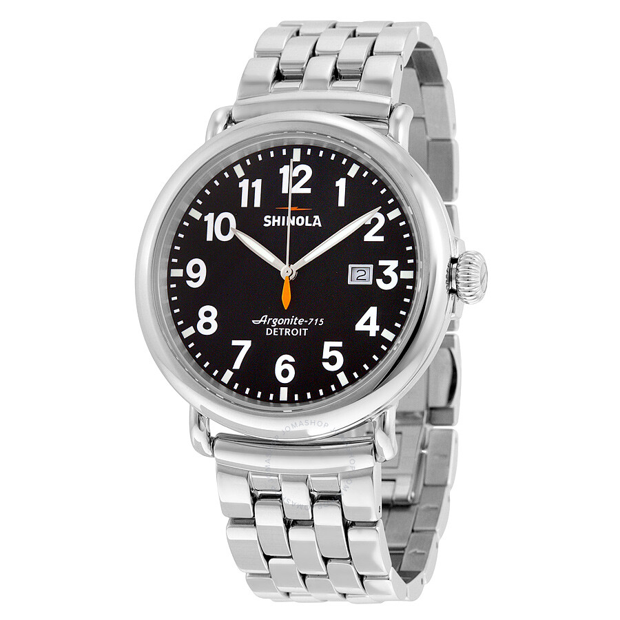 Shinola the runwell black dial silver stainless steel men 39 s watch s0100058 the runwell for Shinola watches