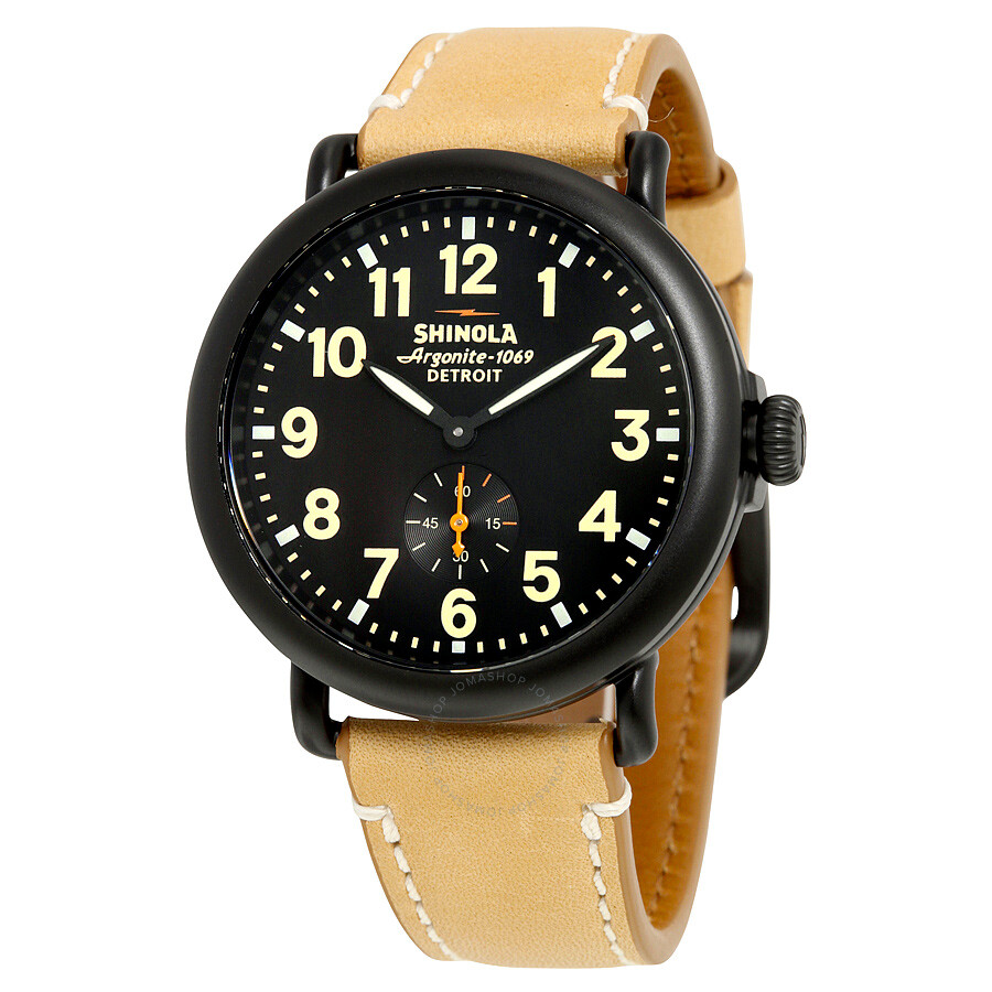 Shinola the runwell black dial tan leather men 39 s watch s0100035 the runwell shinola for Black tan watch