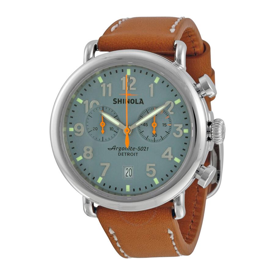 Shinola the runwell chrono slate blue dial natural leather men 39 s watch s0100097 the runwell for Shinola watches