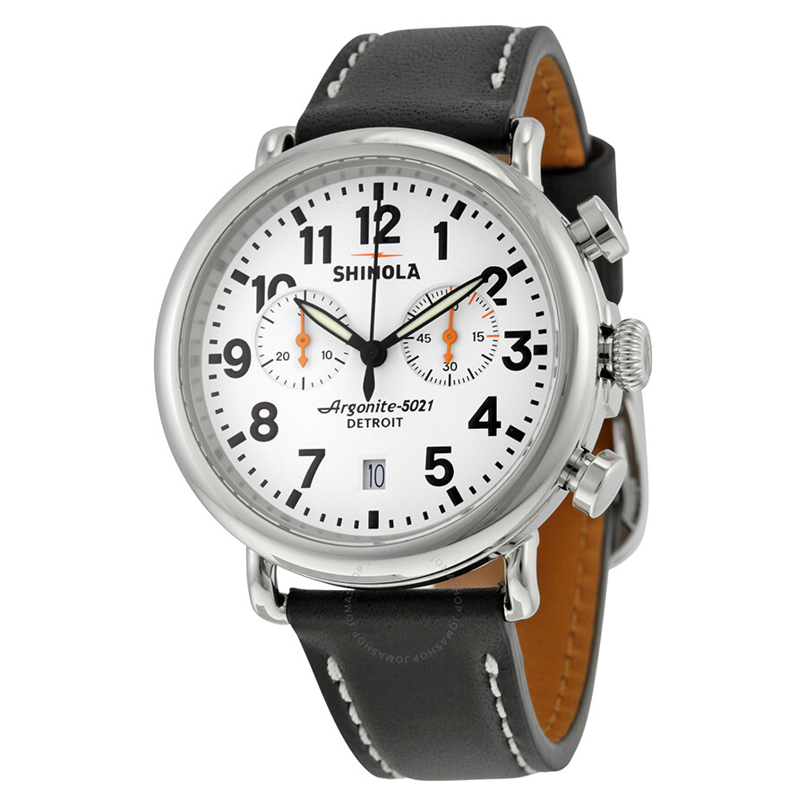 Shinola the runwell chrono white dial black leather men 39 s watch s0100098 the runwell chrono for Shinola watches