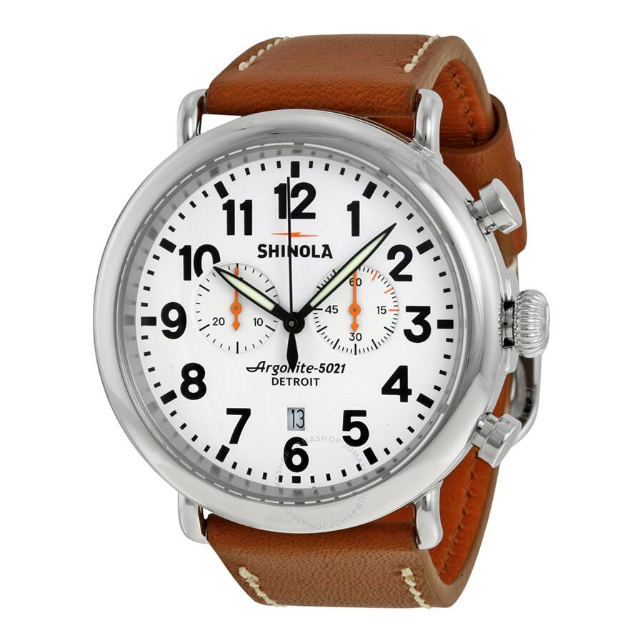 Shinola the runwell chrono white dial tan leather men 39 s watch s0100115 the runwell chrono for Shinola watches