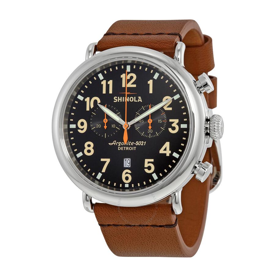 Shinola the runwell chronograph black dial tan leather men 39 s watch s0100044 the runwell chrono for Shinola watches