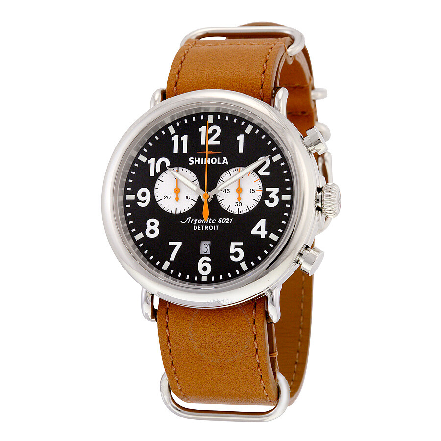 Shinola the runwell chronograph black dial tan leather men 39 s watch s0100048 the runwell chrono for Shinola watches