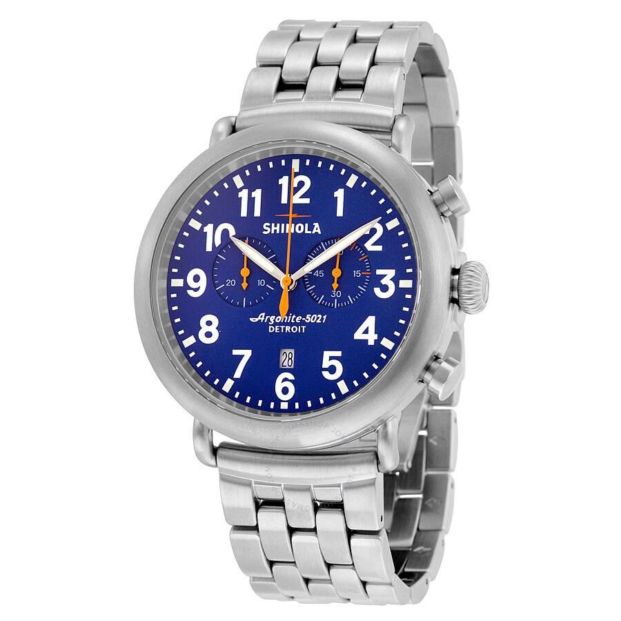 Shinola the runwell chronograph matte velvet royal blue dial stainless steel men 39 s watch for Shinola watches