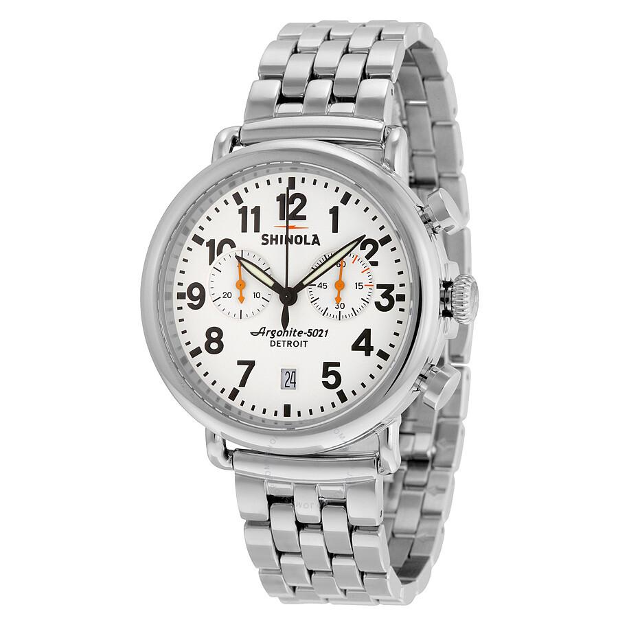 shinola the runwell chronograph white slver stainless