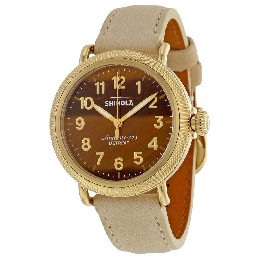 Shinola the runwell coin edge tiger eye dial bone white leather ladies watch 11000294 the for Shinola watches