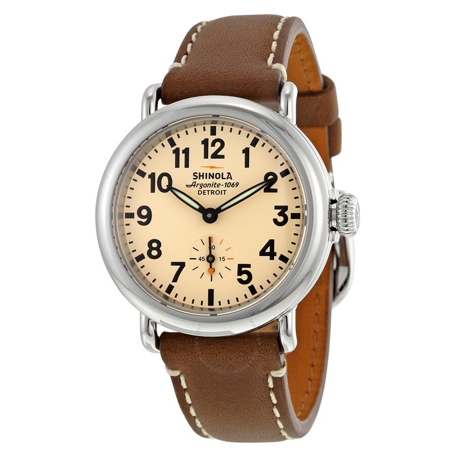 Shinola the runwell cream dial brown leather ladies watch 11000253 the runwell shinola for Shinola watches