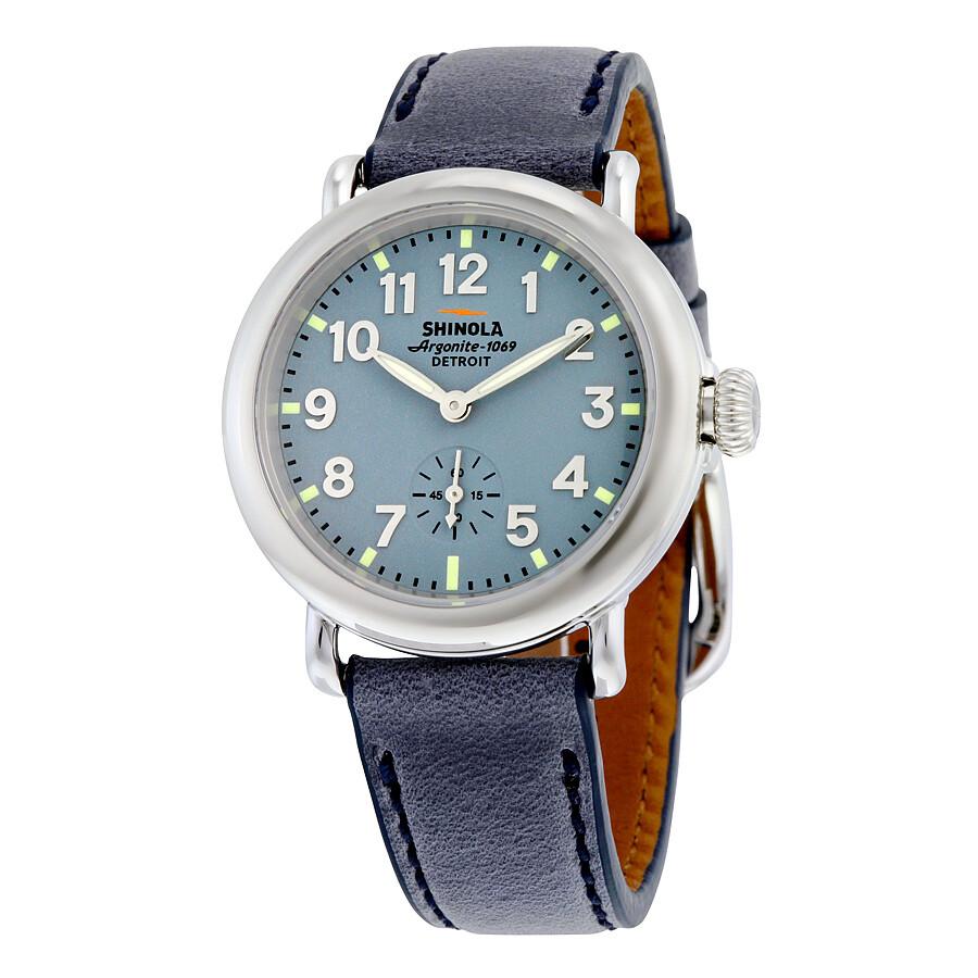 shinola the runwell slate blue slate blue leather