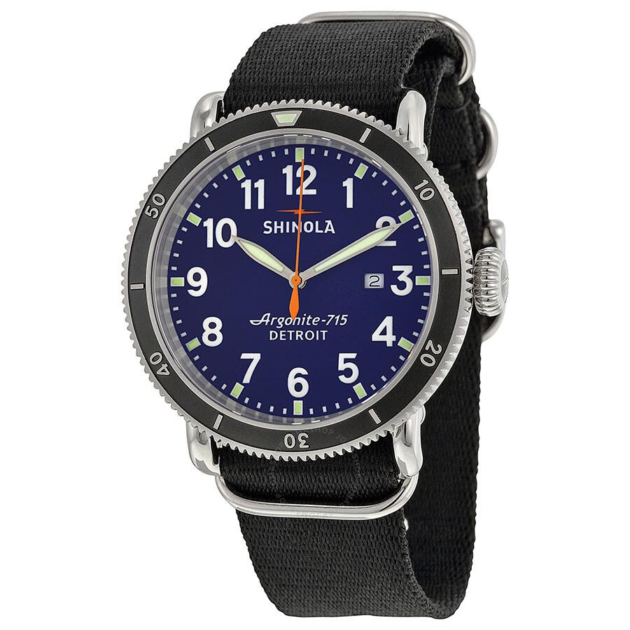21a7d9cd3 Shinola The Runwell Sport Blue Dial Black Nylon Men's Watch S0100085 ...