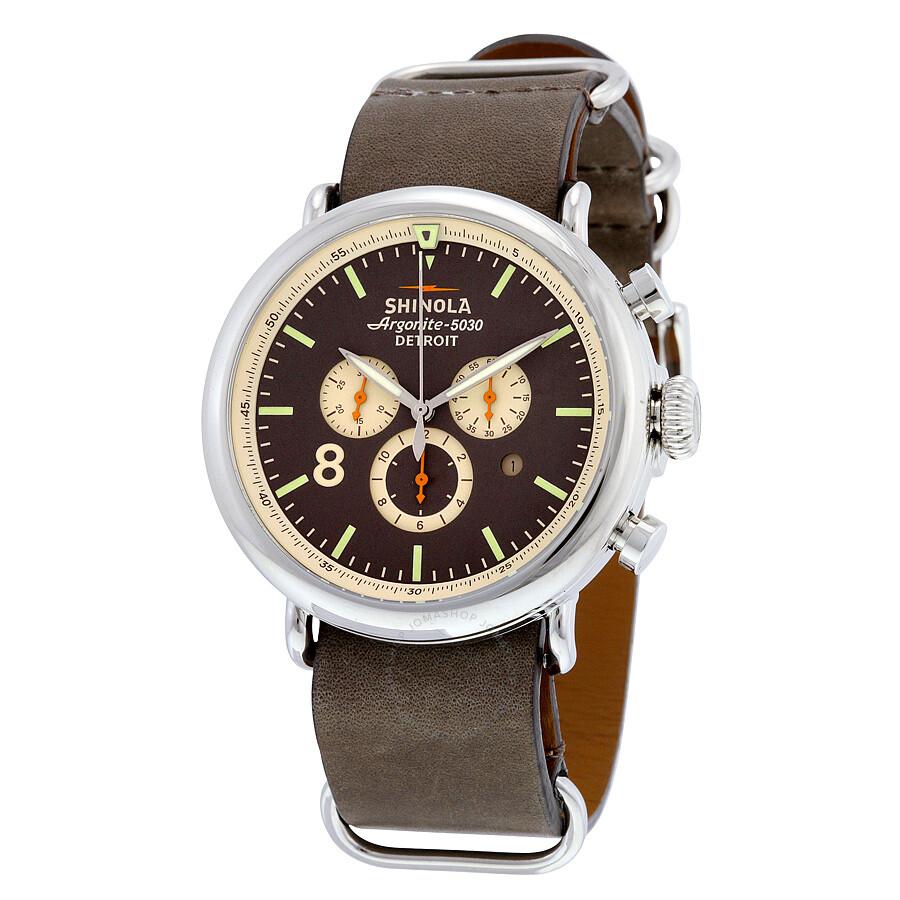 Shinola the runwell sport chrono brown gray dial graystone leather men 39 s watch s0100074 the for Shinola watches