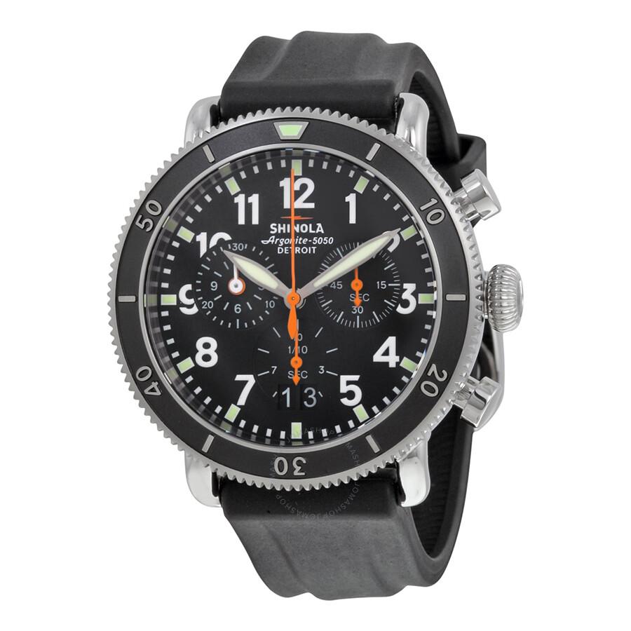 Shinola the runwell sport chronograph black dial black rubber men 39 s watch s0100093 the runwell for Shinola watches