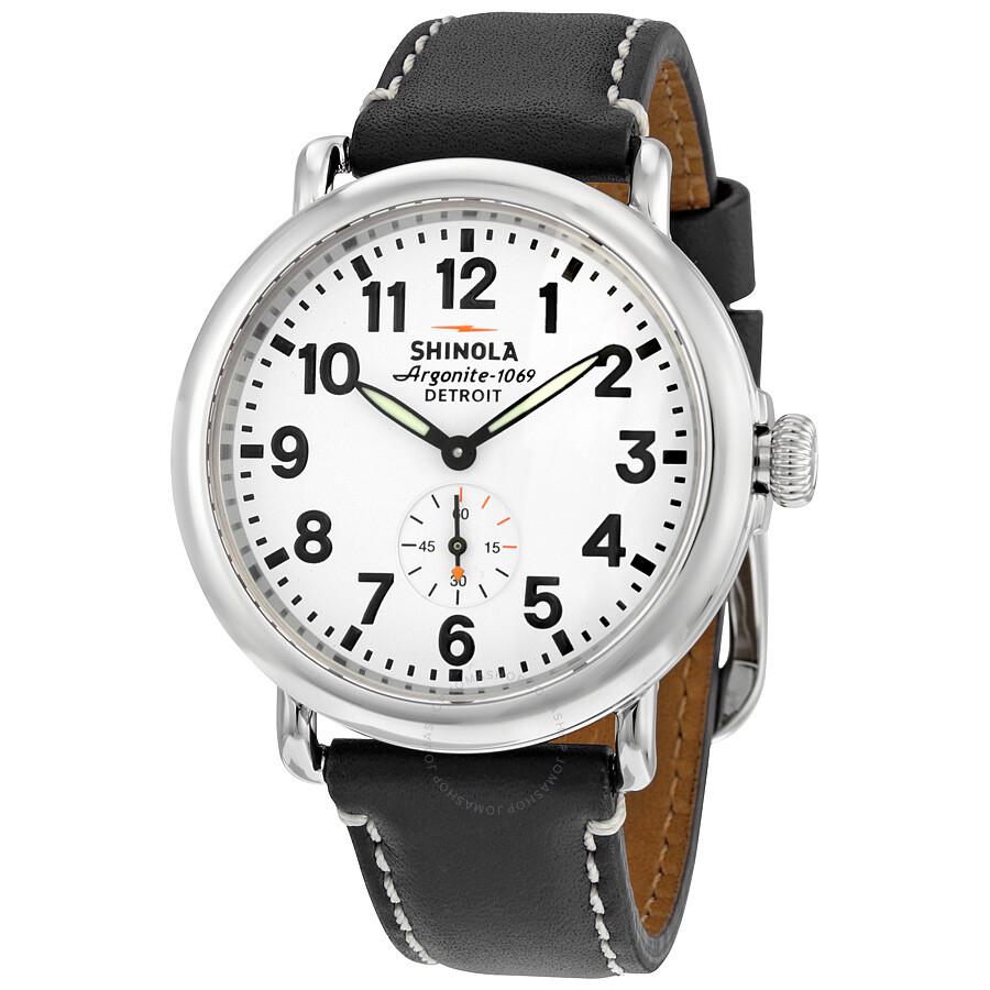 Shinola the runwell white dial black leather unisex watch s0100019 the runwell shinola for Shinola watches