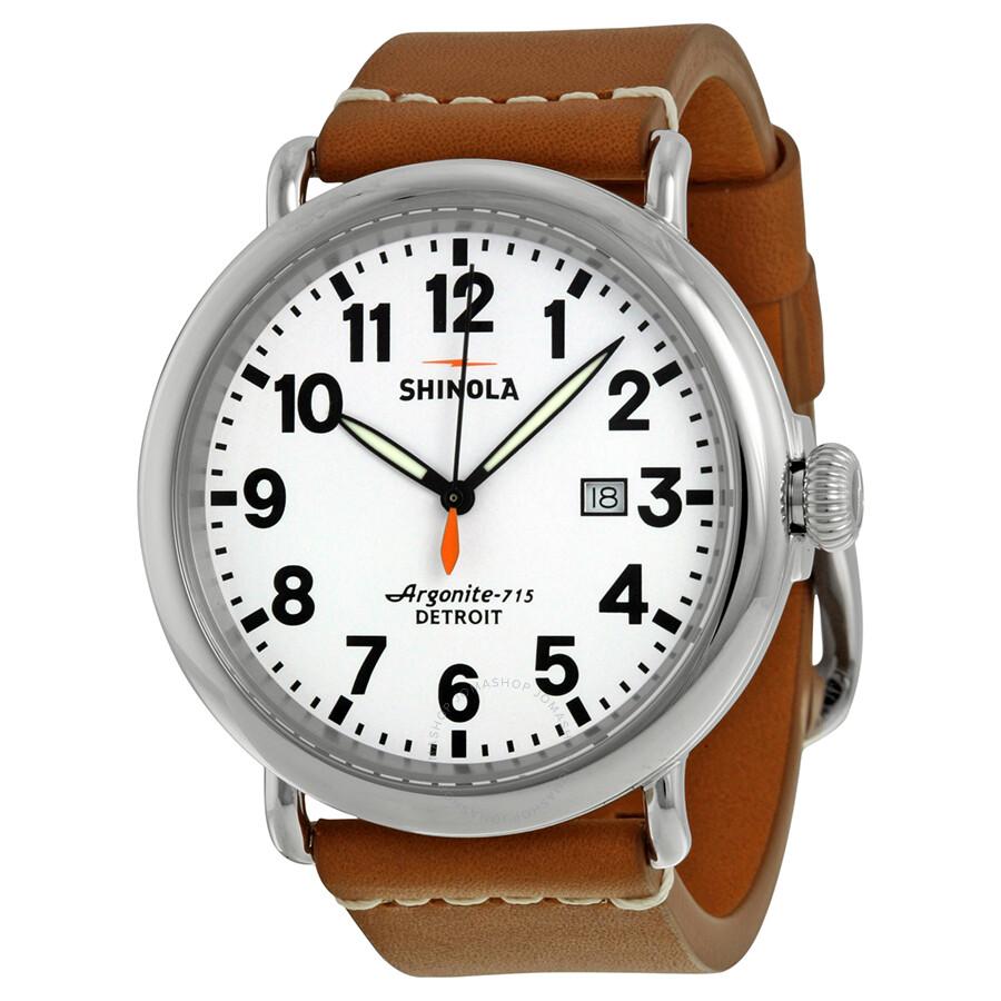Shinola the runwell white dial maple aniline latigo leather men 39 s watch s0100111 the runwell for Shinola watches