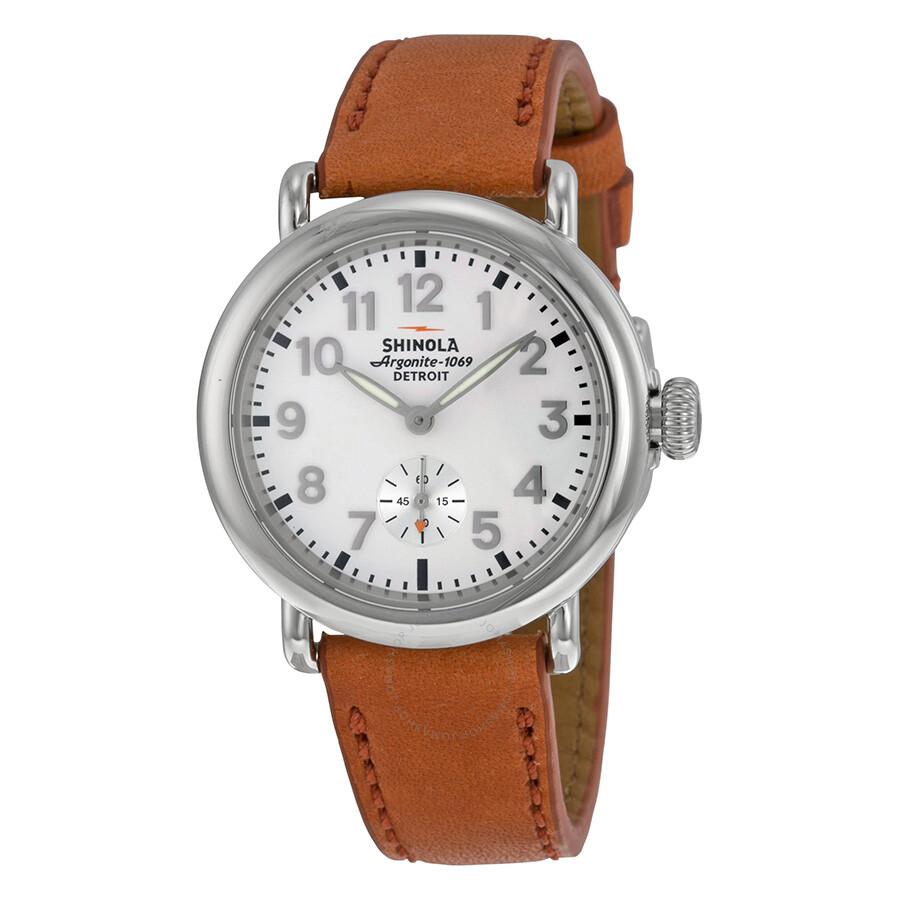 Shinola the runwell white dial orange leather ladies watch s0200051 the runwell shinola for Shinola watches